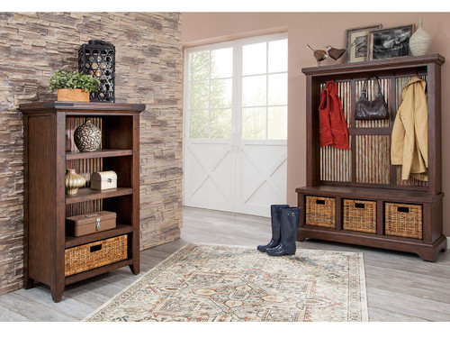 Mossy Oaks Dark Bookcase and Hall Tree (also available in Light color)