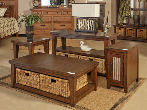 Mossy Oaks Dark Storage Tables with baskets
