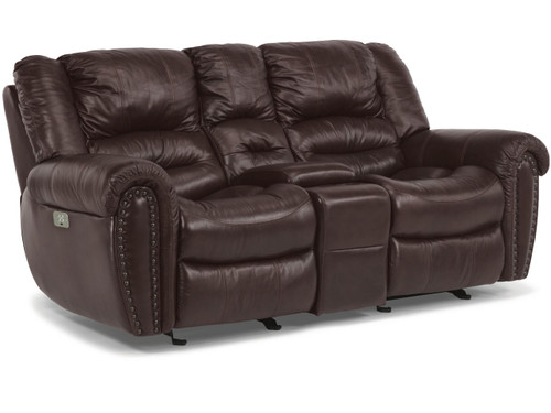 Crosstown Leather Reclining Sofa Vintage Oak
