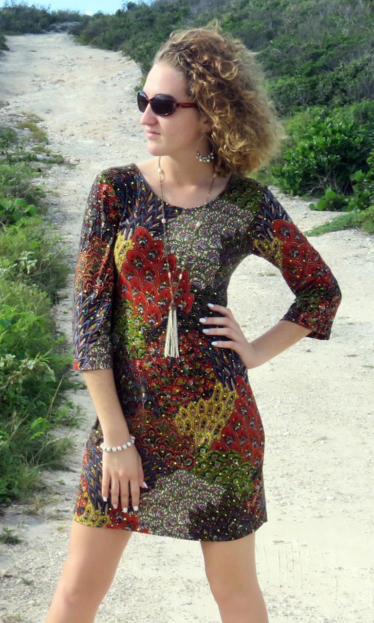 Peacock Sparkle 3/4 Sleeve Dress