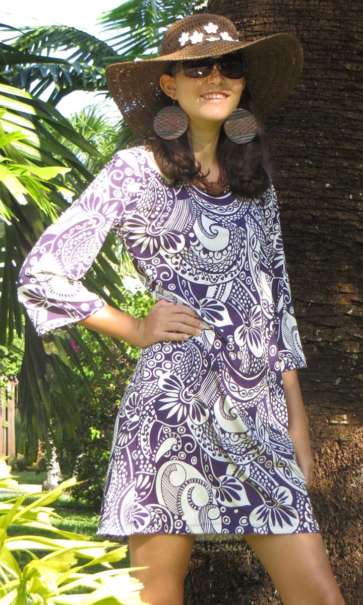 Eggplant Paisley 3/4 Sleeve Dress