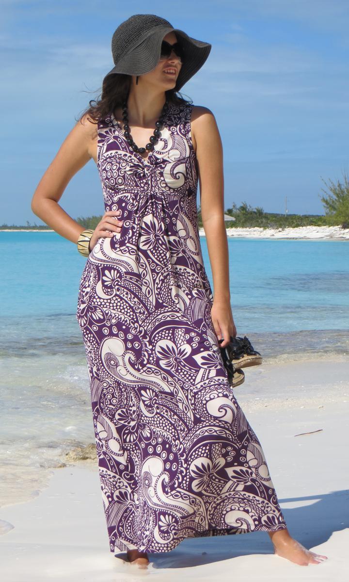 Eggplant Paisley Long Twist Dress