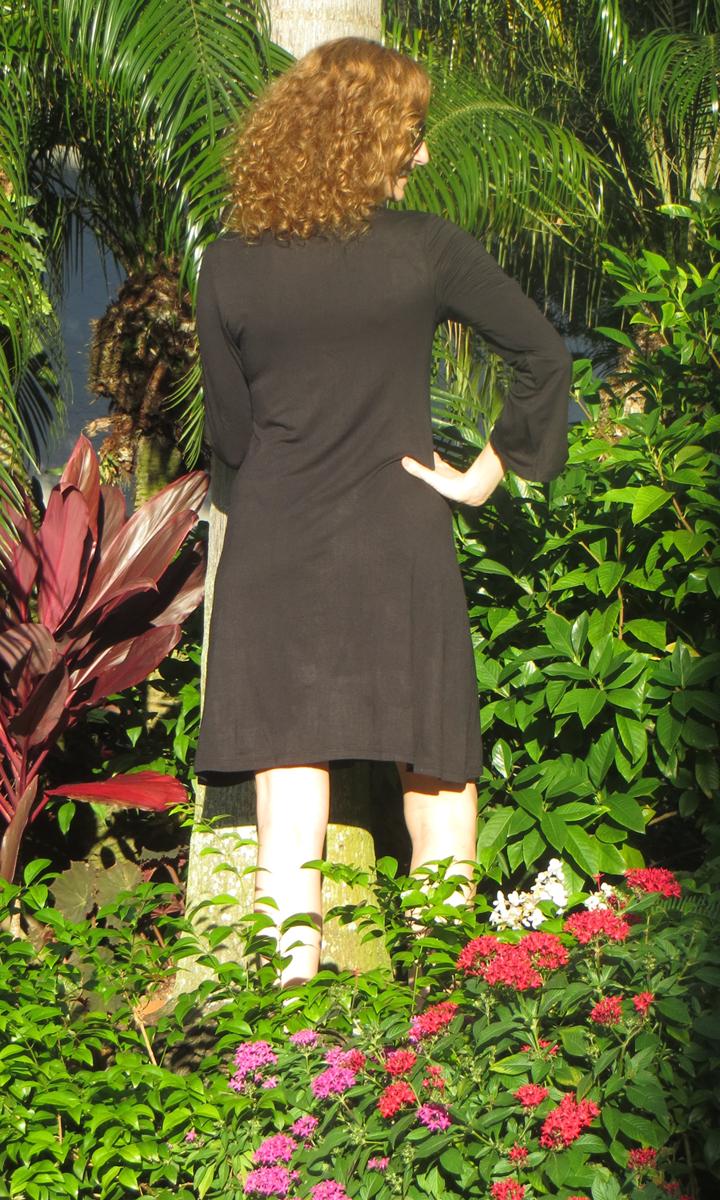 Black Jersey Bell Sleeve Dress