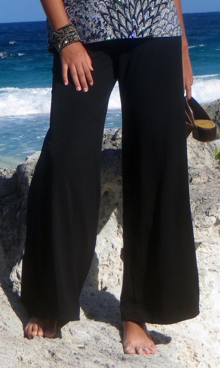 Solid Black Poly Blend Pant
