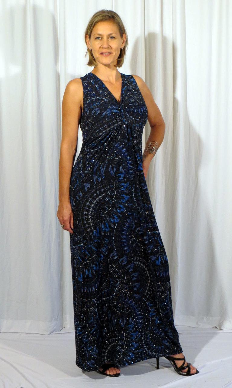 Grecian Sparkle Long Twist Dress