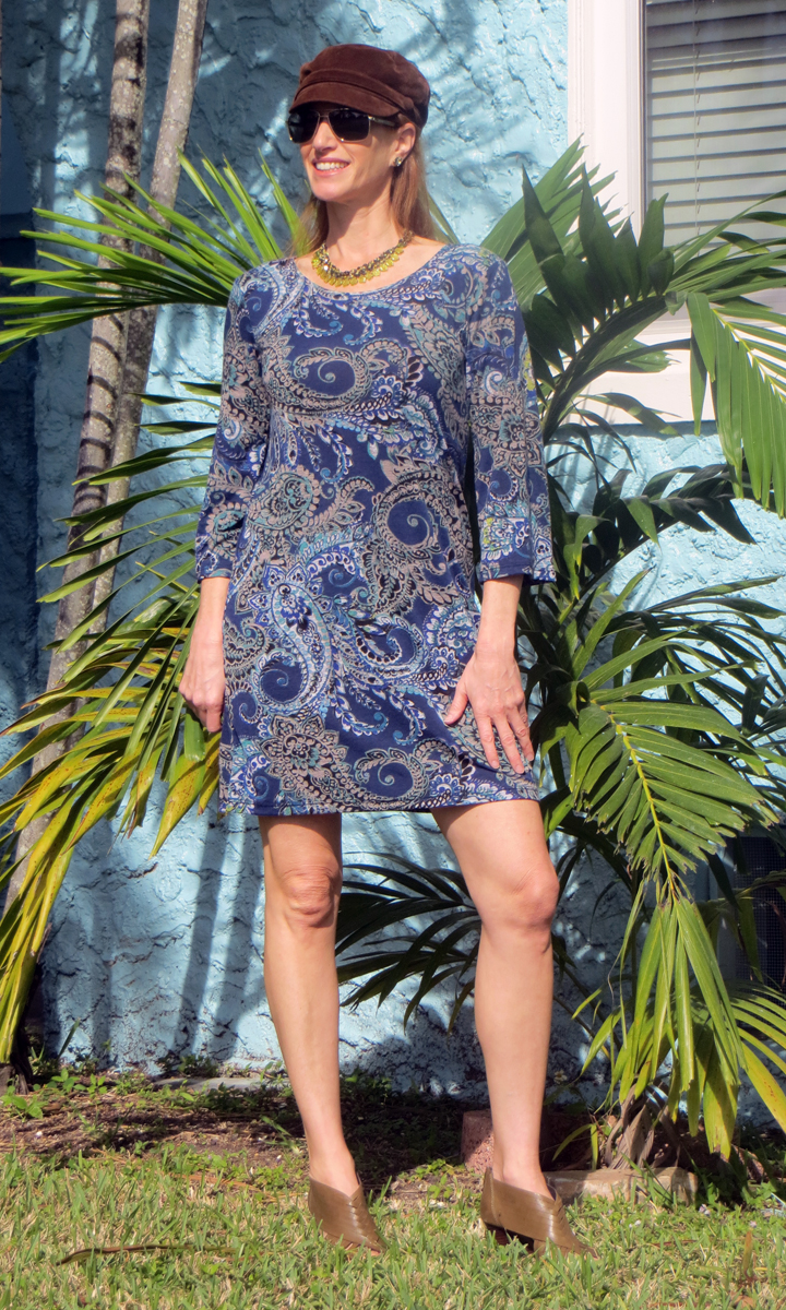 Navy & Jade Paisley 3/4 Sleeve Dress