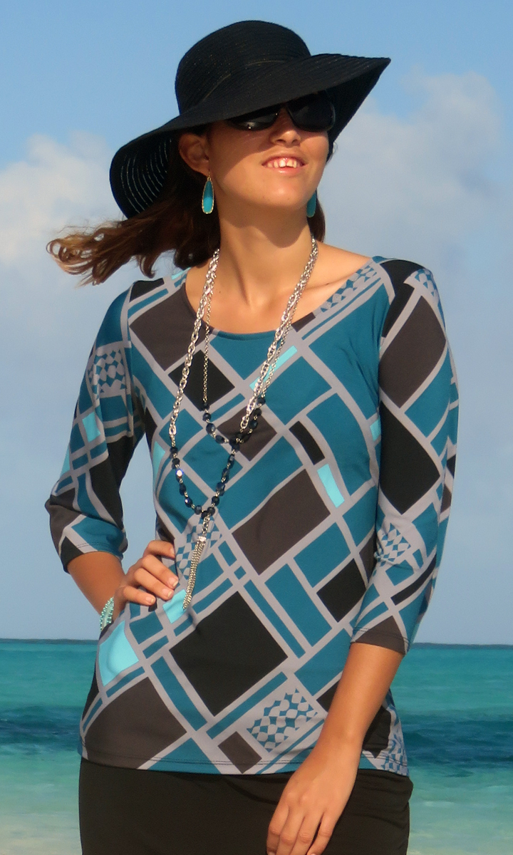 Teal Squared 3/4 Sleeve Top