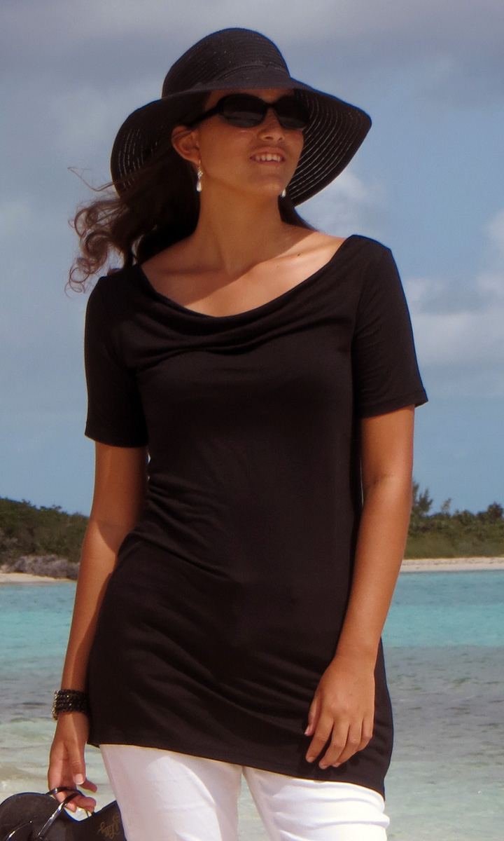 Solid Jersey Cowl Neck Tunic