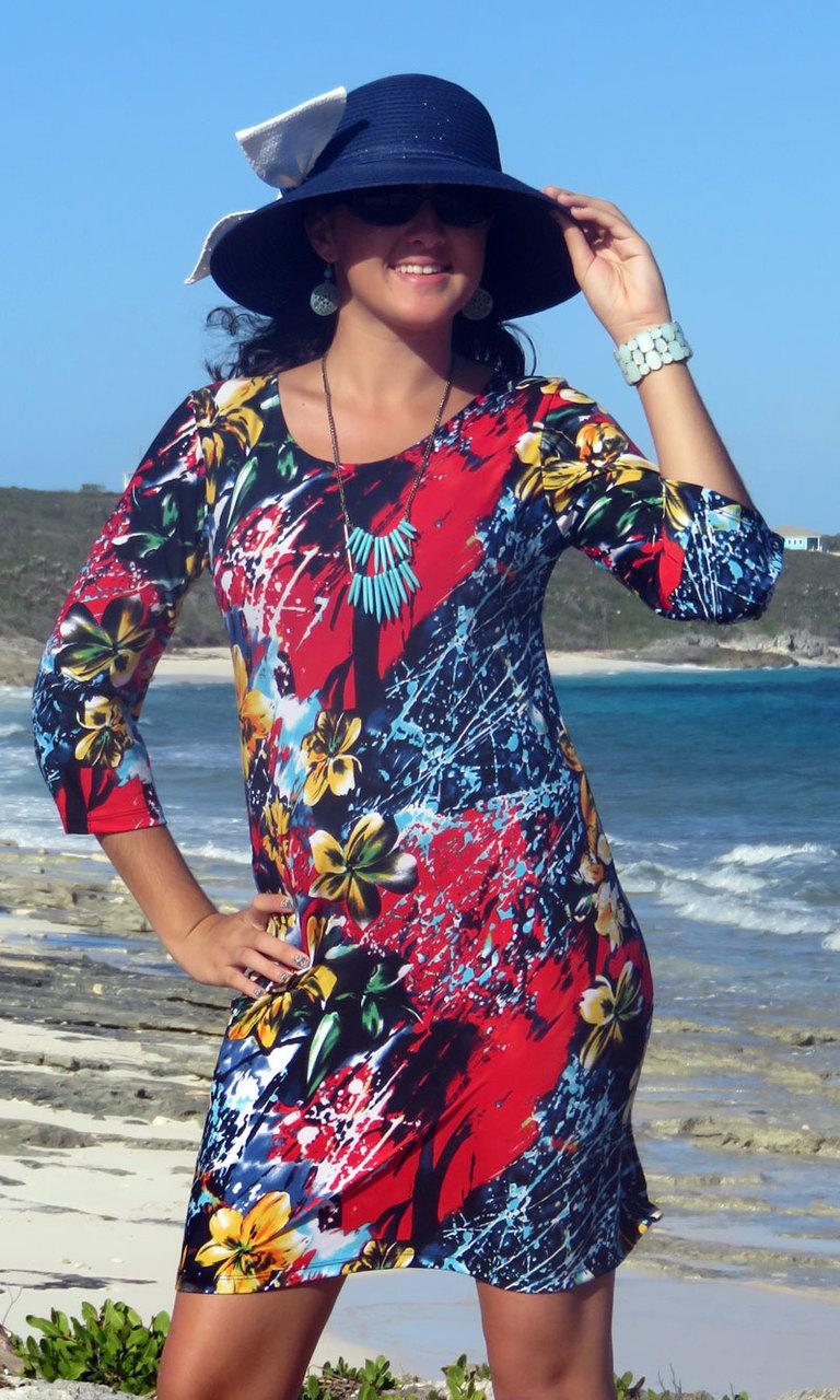 Hawaiian Blossom 3/4 Sleeve Dress-SMALL & X LARGE AVAILABLE!!