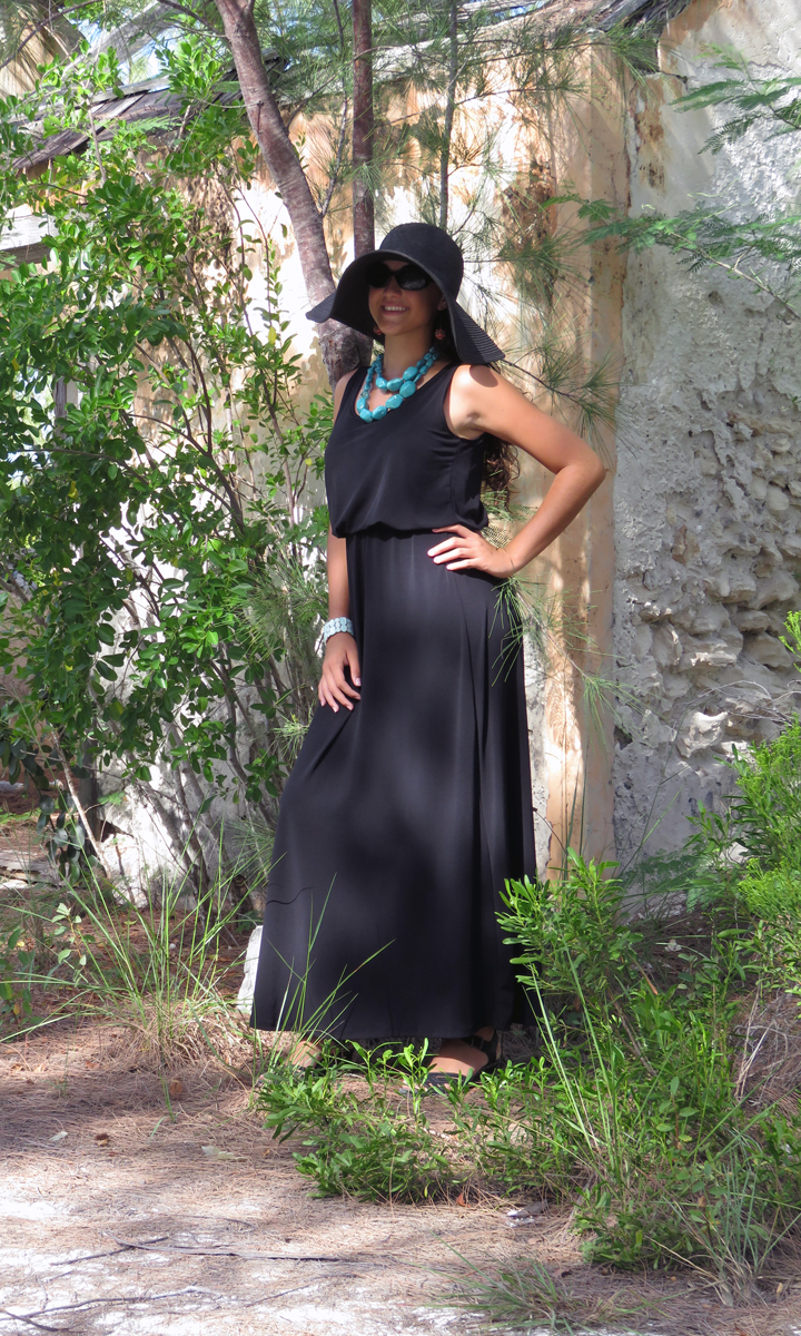Solid Black Poly Blend Long Blouson Dress