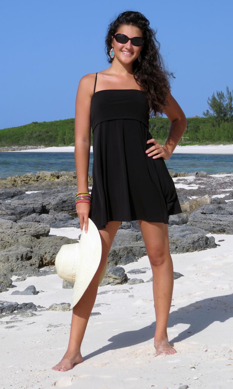 Solid Black Poly Blend Short Convertible Skirt