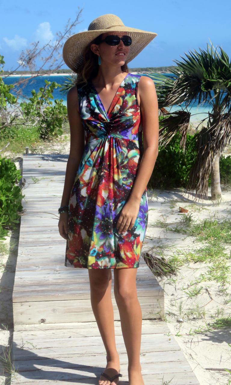Floral Sparkle Short Twist Dress