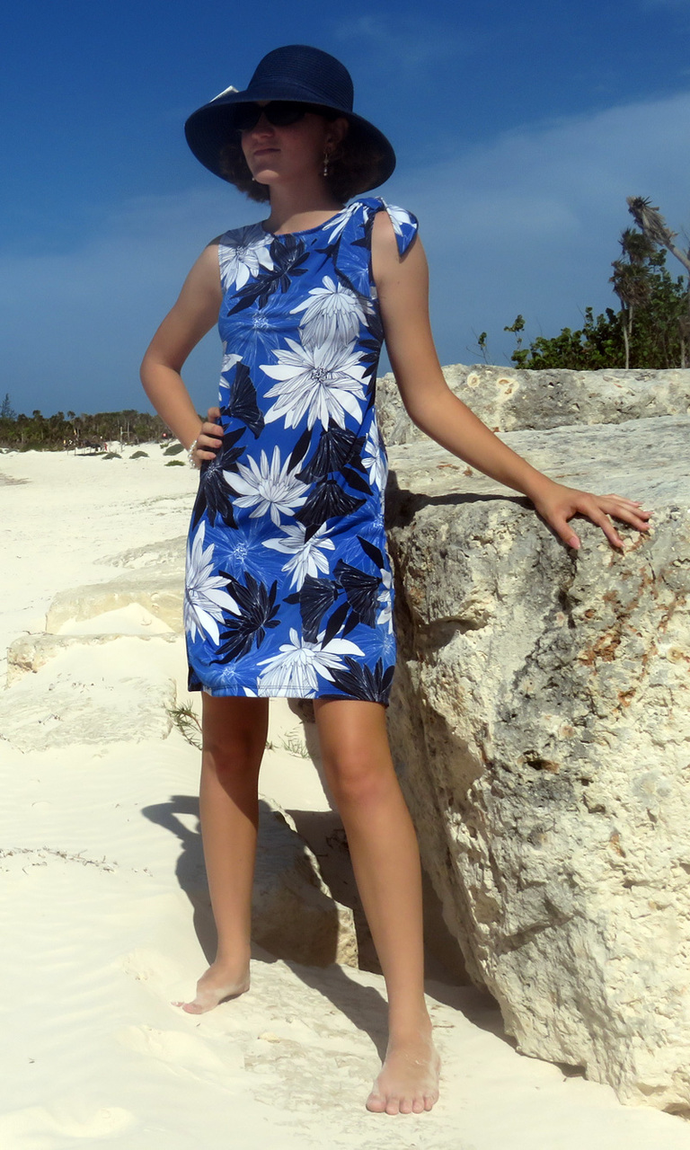 Cobalt & Royal Blooms Bow Dress