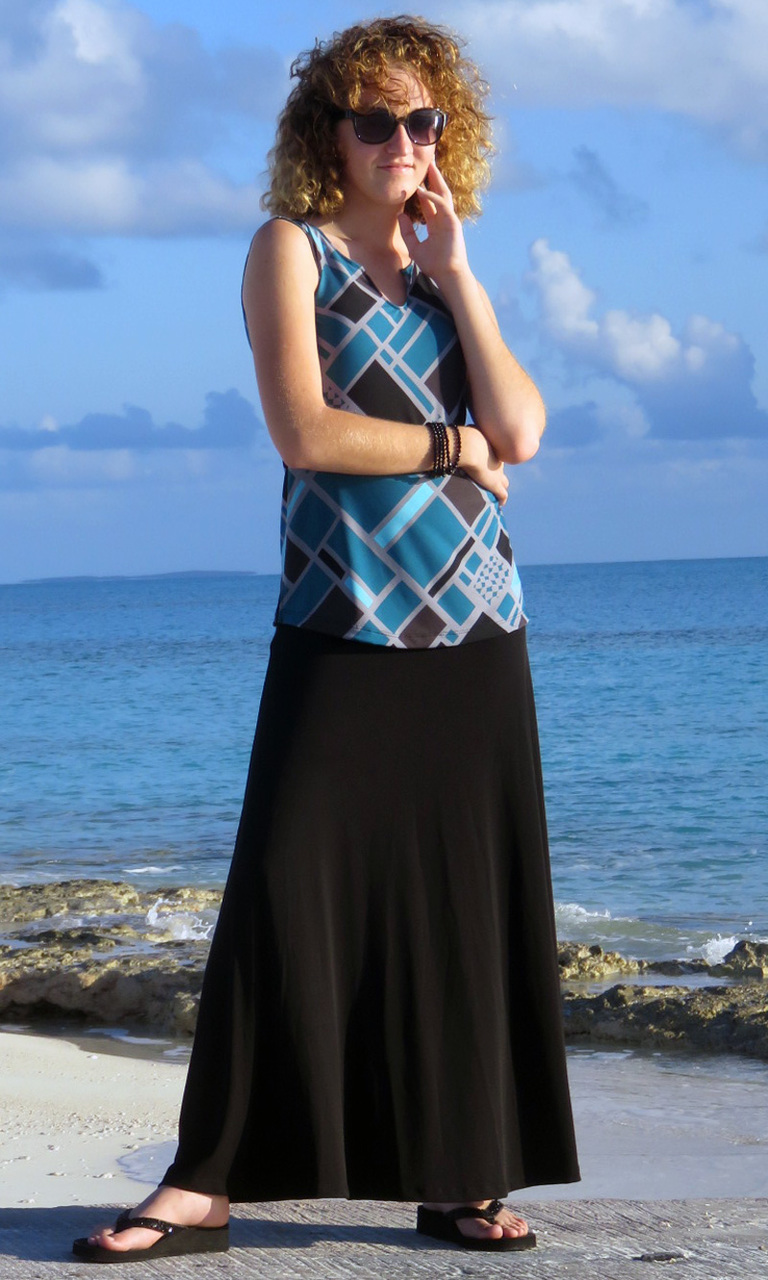 Solid Black Poly Blend Long Convertible Skirt