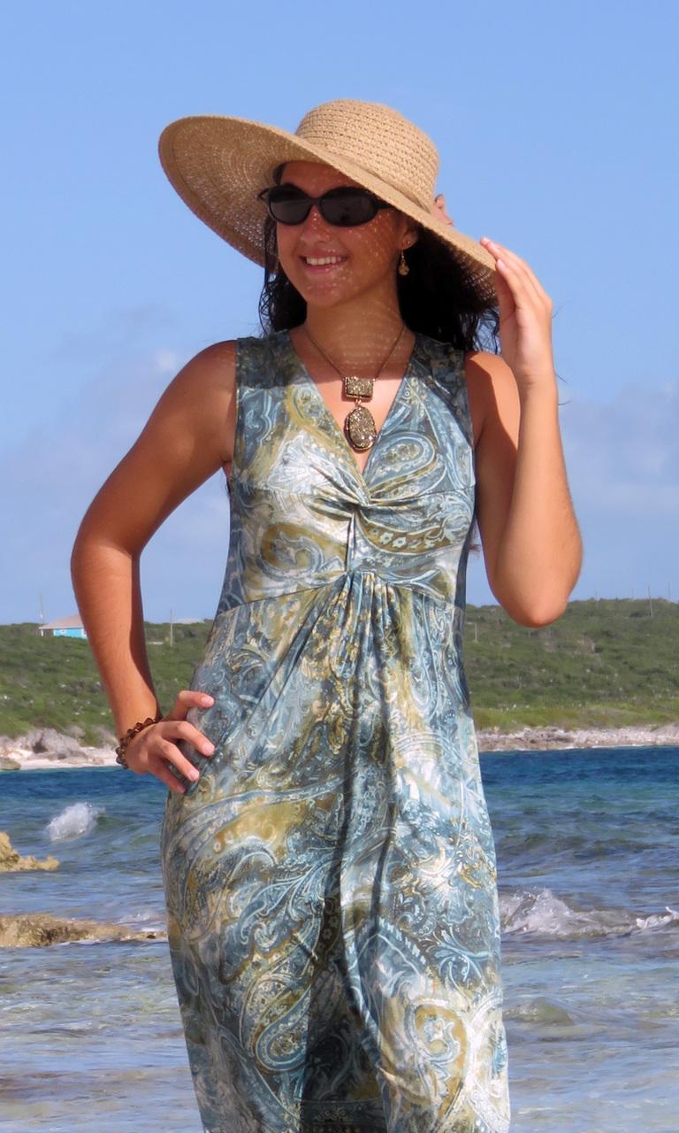 Sage Paisley Long Twist Dress