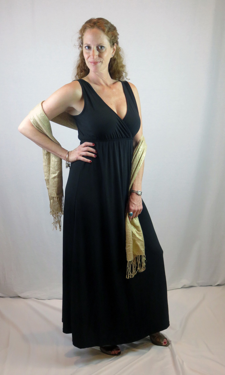 Solid Black Long Wrap Dress