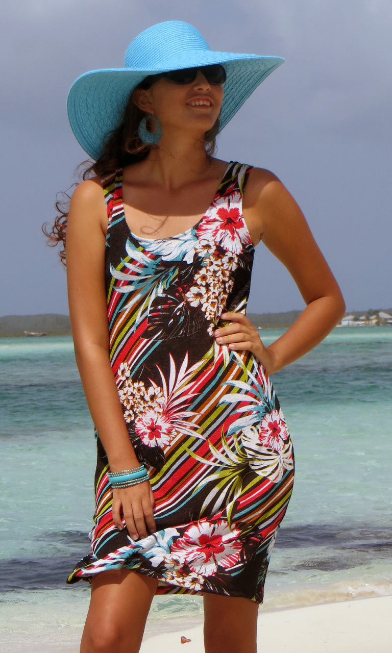 Printed Cover Tank Dress
