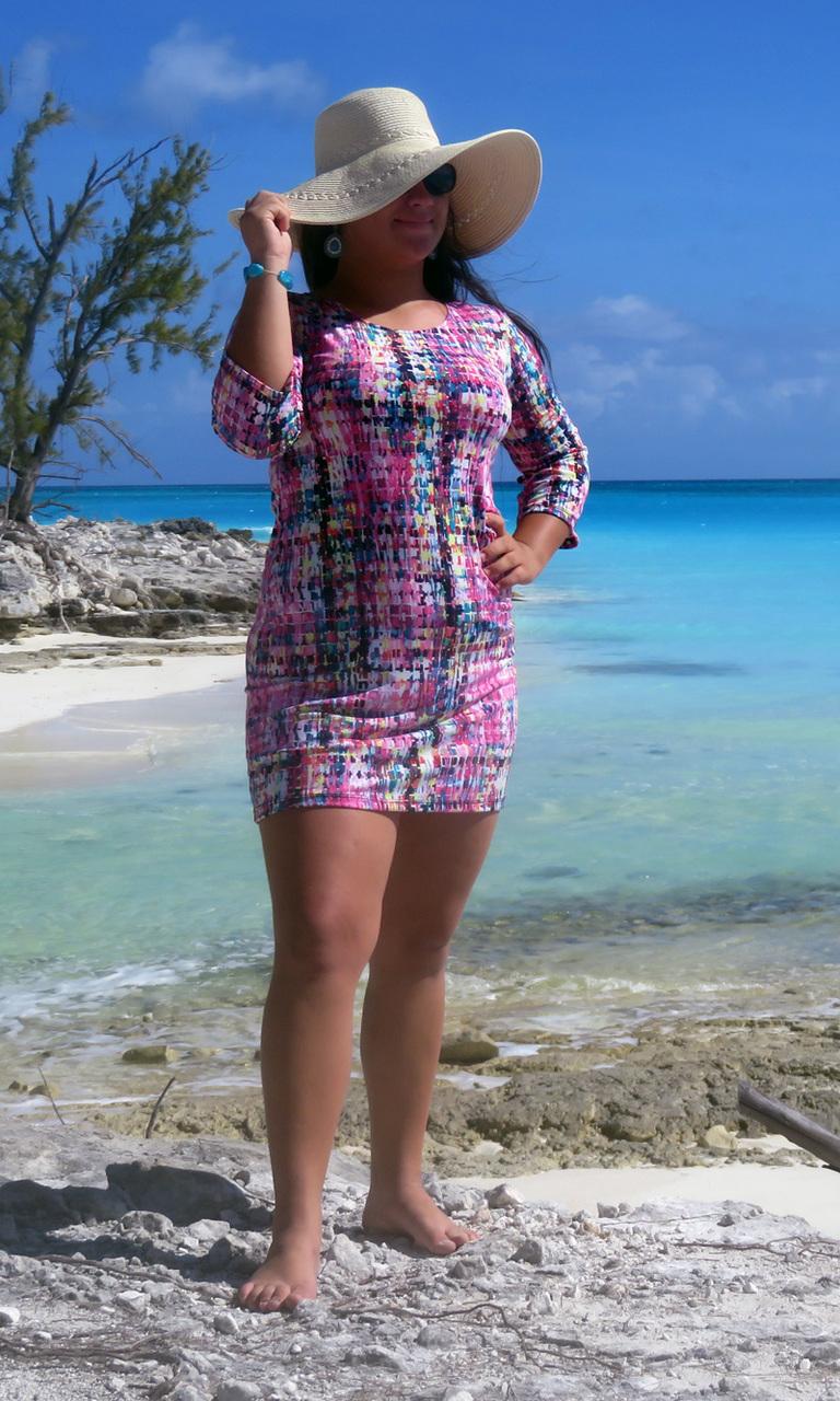 Pink Mosaic 3/4 Sleeve Dress