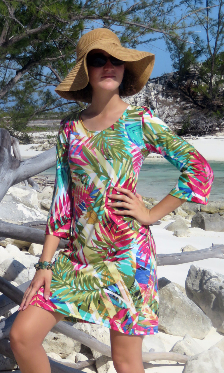 Sunset Palms 3/4 Sleeve Dress