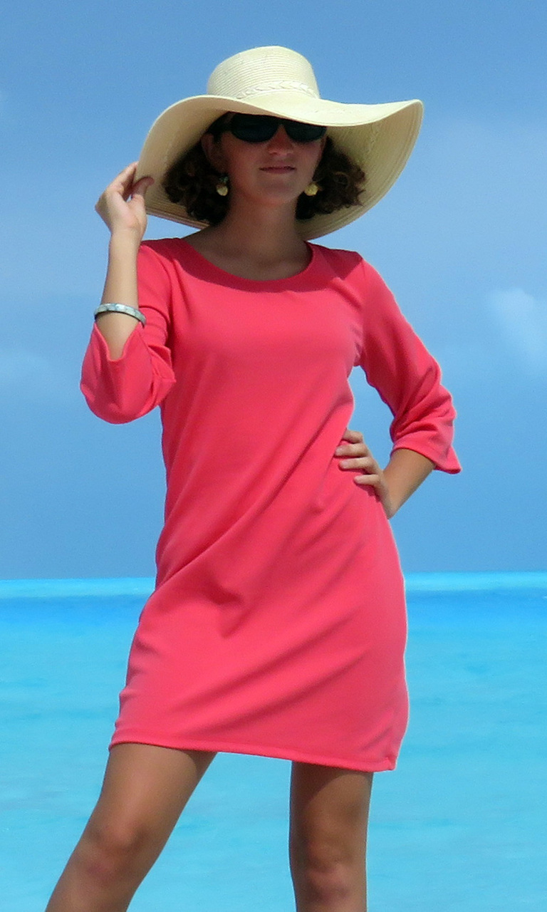 Coral Texture 3/4 Sleeve Dress