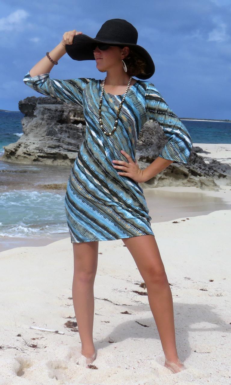Sage Batik 3/4 Sleeve Dress