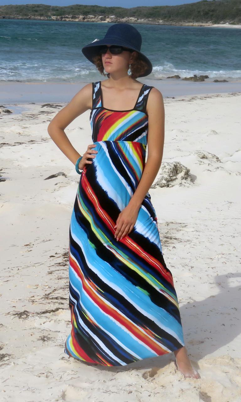 Sailor's Delight Long Wrap Dress