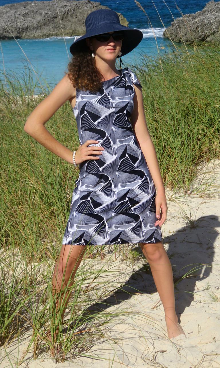 Wavy Navy Bow Dress