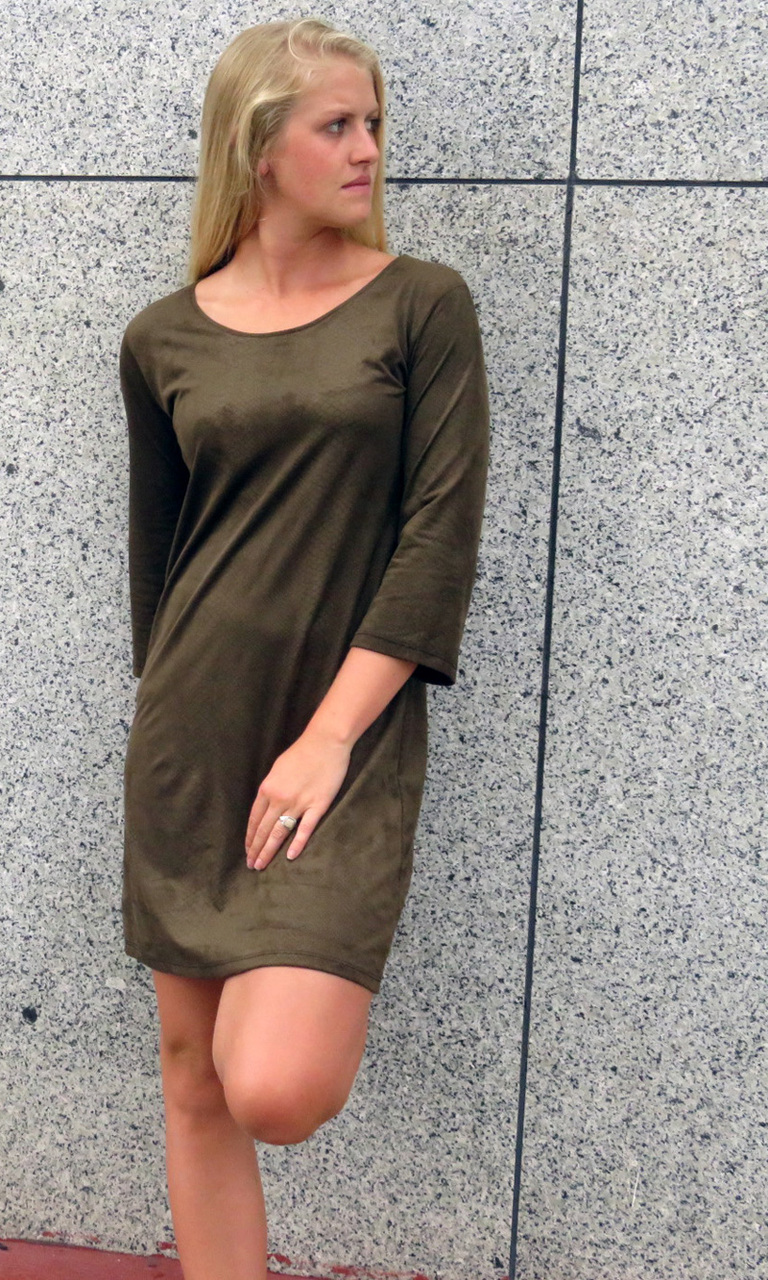 Embossed Sueded 3/4 Sleeve Dress