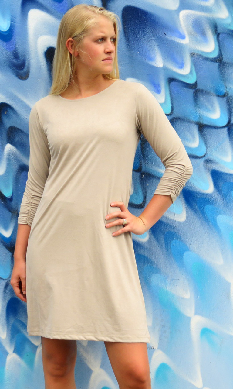 Sueded Solid 3/4 Sleeve Julie Dress