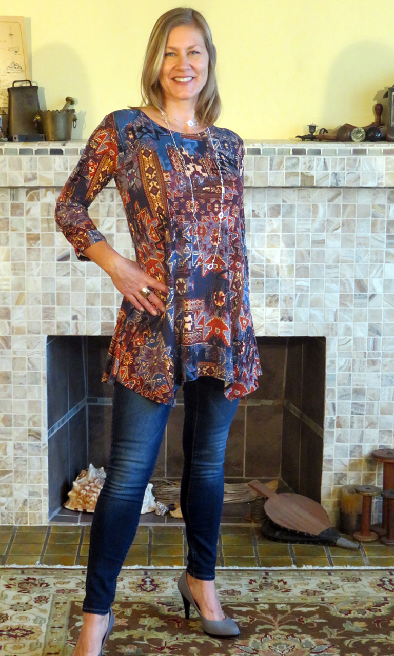 New Tapestry 3/4 Sleeve Swing Tunic