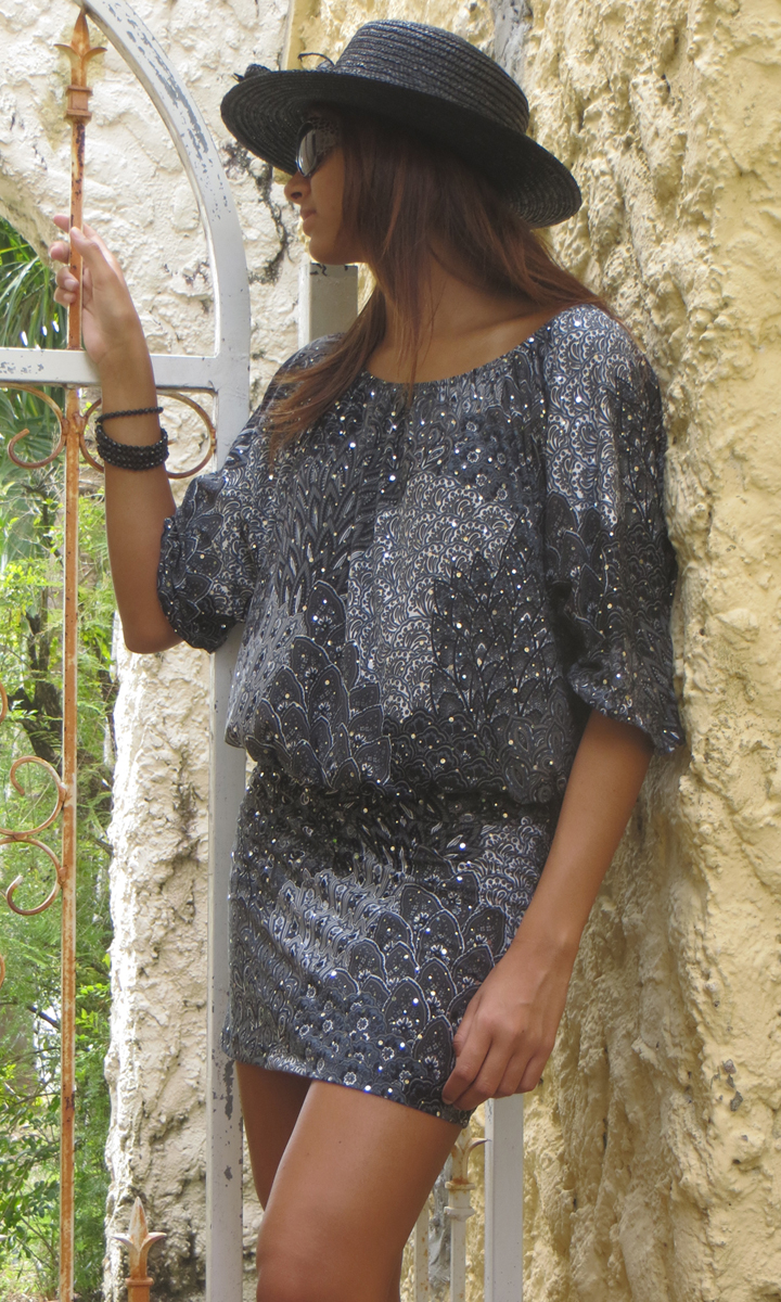 Peacock Skort shown with the Dolman Top ( T90433) in matching Grey Peacock