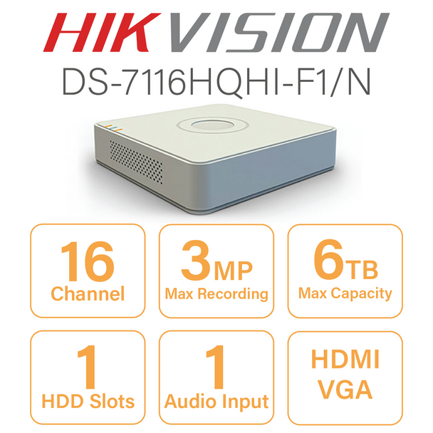 Hikvision DS-7116HQHI-F1/N 16 Channel DVR with HDMI and VGA Output