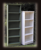 6' Bookcase shown in Old Sage and 5' Bookcase shown in Old Cottage White