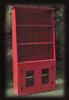 Cantback hutch in Old Red with screen doors