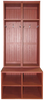 Two Short Lockers shown on top of one #7056 Double Deep Locker Bench in Old Burgundy