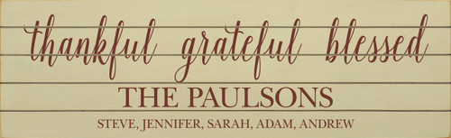 Option 2: Last Name & Family Members (Shown in Old Cream with Burgundy lettering)