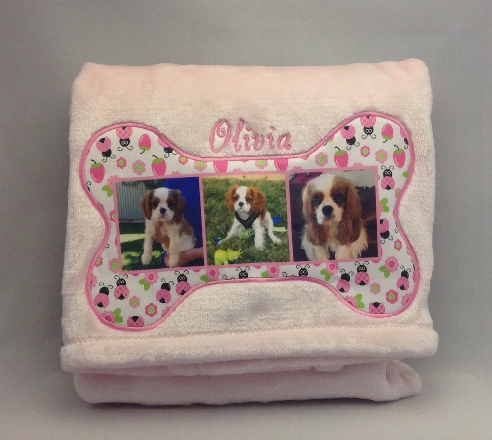 Blankets - Plush micro fleece (30 x 40), imprinted bone and photos (5 designs - personalized)