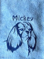 Cavalier (Fancy) on baby blue towel with dark blue thread