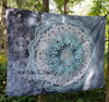 Grey And Blue Mandala Tapestry - Large 150 x 200 cm Wall Hanging For Dorm Room, Bedroom, Home Decor