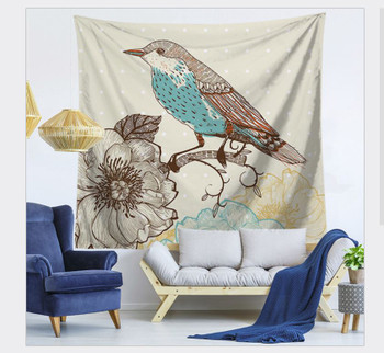 Perched Blue Belly Bird Tapestry - Large 150 x 130 cm