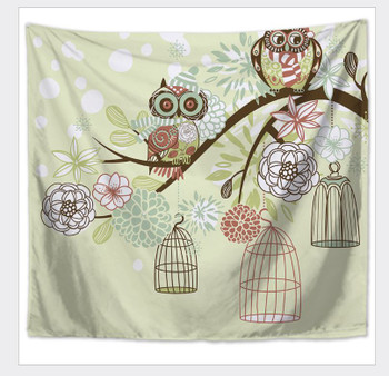 Perched Owl And Bird Cages Tapestry - Large 150 x 130 cm