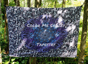Purple And Black Mandala Tapestry - Large 150 x 200 cm Wall Hanging For Dorm Room, Bedroom, Home Decor