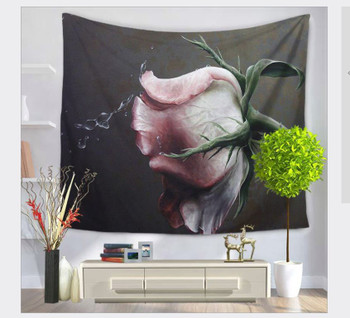 Pink Rose Splash  Flower Tapestry - Large 150 x 130 cm