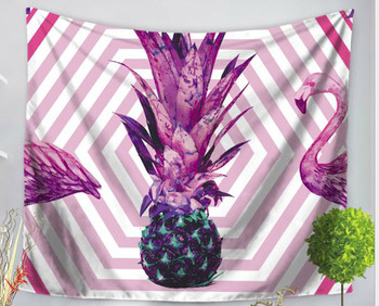 Pink - Purple - Pineapple And Flamingo Tapestry - Large 150 x 130 cm