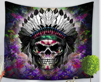 Warrior Indian Feather Headdress Skull Tapestry - Large 150 x 130 cm