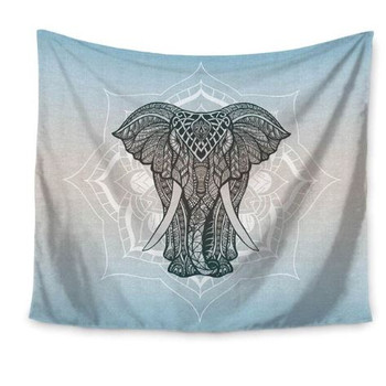 Mandala Elephant Bohemian Hippie Blue - Gray Tapestry Dorm Or Room - Large 150 x 130 cm
