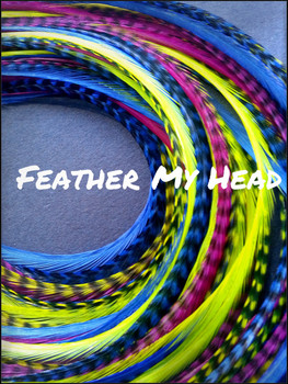 """Feather Hair Extensions - Do It Yourself (DIY) Kit - 16 Pc Thin Feathers - Long 9""""-12"""" (23-30cm) Pink Yellow Blue - Lif'es A Beach Collection - Surfer Girl"""