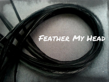 Feather Hair Extensions 9 - 12 Inches Long (23-30cm) Thin Fashion Euro - Grizzly Stripe And Solid Mix - 10 Pc Black