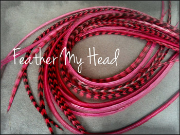 Feather Hair Extensions 9 - 12 Inches Long (23-30cm) Thin Fashion Euro - Grizzly Stripe And Solid Mix - 10 Pc Burgundy