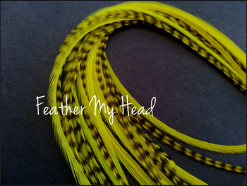 Feather Hair Extension - 10 Piece 9 - 12 inches Long (23-30 cm) Grizzly Stripe / Solid Mix - Neon Yellow - Brights